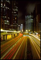 Expressway on Hong-Kong Island by night. Hong-Kong, China (color)