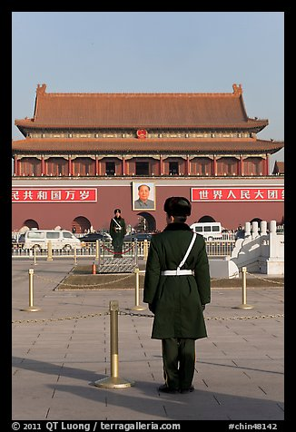 Gate of Heavenly Peace and guards, Tiananmen Square. Beijing, China