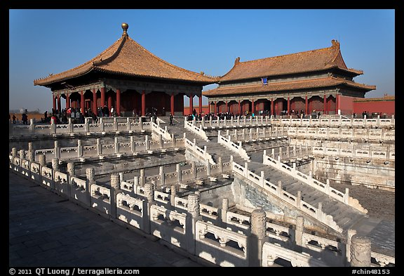 Hall of Middle Harmony and Hall of Preserving Harmony, Forbidden City. Beijing, China
