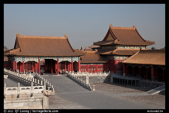 Corner Pavilion and gate, Front Court, Forbidden City. Beijing, China (color)