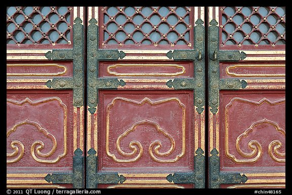 Door detail, imperial architecture, Forbidden City. Beijing, China (color)