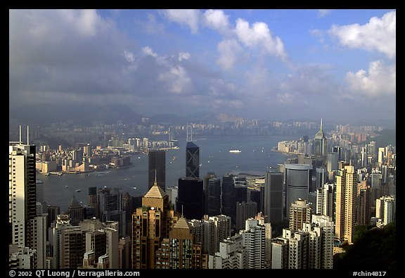 View from Victoria Peak, late afternoon. Hong-Kong, China (color)