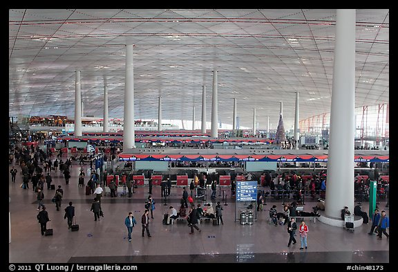 Interior of Norman Foster designed terminal 3, International Airport. Beijing, China (color)