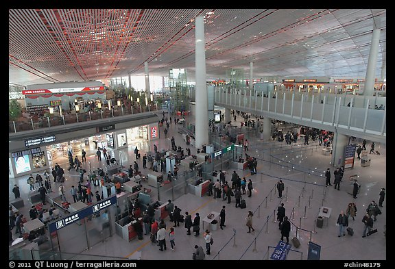 Security check area, Capital International Airport. Beijing, China (color)