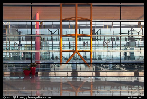 Reflections in glass and marble, Capital International Airport. Beijing, China (color)