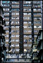 High-rise residential building in a popular district, Kowloon. Hong-Kong, China (color)