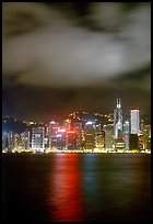 Hong-Kong Island across the harbor by night. Hong-Kong, China
