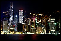 Hong-Kong skycrapers by harbor at night. Hong-Kong, China (color)