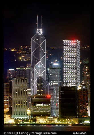 Bank of China (369m) and Cheung Kong Center (290m) buildings  across  harbor by night. Hong-Kong, China (color)