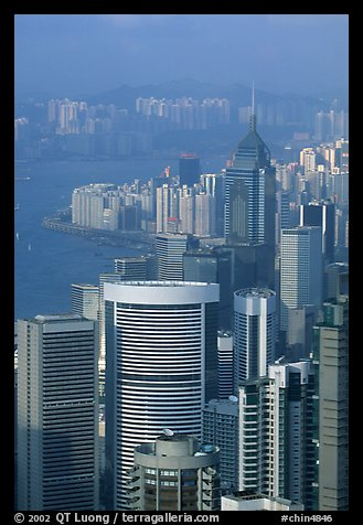 Modern high-rise buildings  from Victoria Peak, late afternoon, Hong-Kong Island. Hong-Kong, China (color)