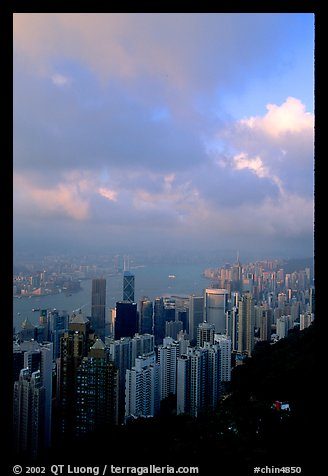 Hong-Kong Island from Victoria Peak, sunset. Hong-Kong, China (color)