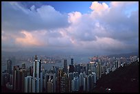 Hong-Kong skyline  from Victoria Peak, sunset. Hong-Kong, China (color)