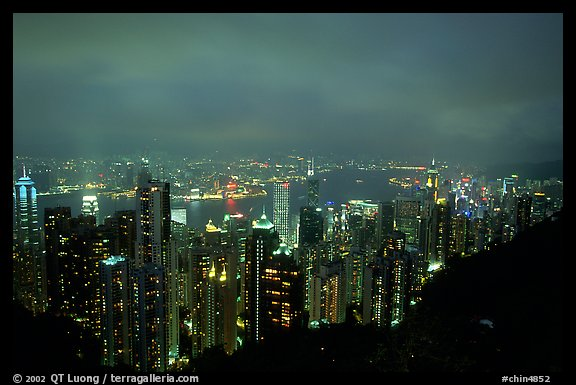 Hong-Kong lights from Victoria Peak at night. Hong-Kong, China (color)