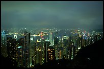 Hong-Kong lights from Victoria Peak at night. Hong-Kong, China