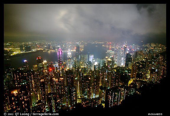 Hong-Kong night citiscape lights from Victoria Peak. Hong-Kong, China (color)