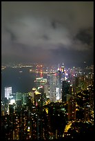 Hong-Kong city lights from Victoria Peak. Hong-Kong, China (color)