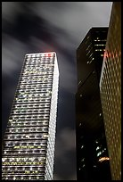 Cheung Kong Center (290m) building at night. Hong-Kong, China (color)
