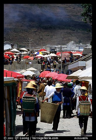 Periphery of  Monday market frequented by hill tribespeople. Shaping, Yunnan, China (color)