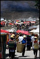 Periphery of  Monday market frequented by hill tribespeople. Shaping, Yunnan, China ( color)