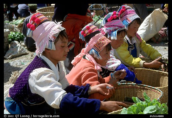 Bai women in tribal dress selling vegetables at the Monday market. Shaping, Yunnan, China (color)