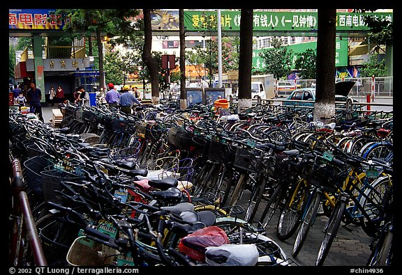Bicycle parking lot. Kunming, Yunnan, China (color)