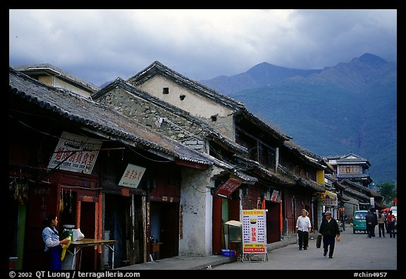Old houses and Cang Shan mountains. Dali, Yunnan, China (color)