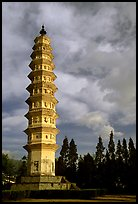 One of the two 10-tiered pagodas flanking Quianxun Pagoda. Dali, Yunnan, China (color)