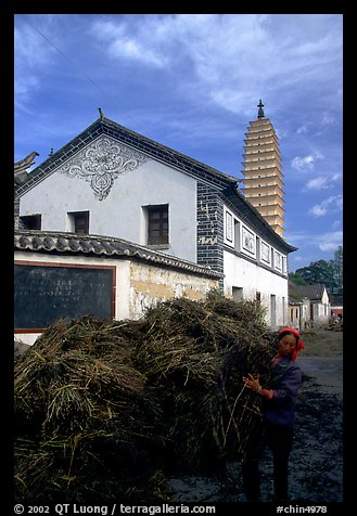 Rural activity in a street close to the Three Pagodas. Dali, Yunnan, China (color)