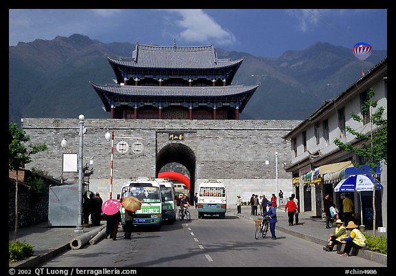 West gate with Cang Shan mountains in the background. Dali, Yunnan, China (color)