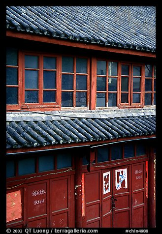 Detail of wooden house. Dali, Yunnan, China