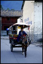 House carriage in a street. Dali, Yunnan, China (color)