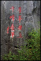 Inscription in Chinese on a limestone wall. Shilin, Yunnan, China