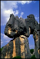 Opening in a limestone formation of the Stone Forest. Shilin, Yunnan, China