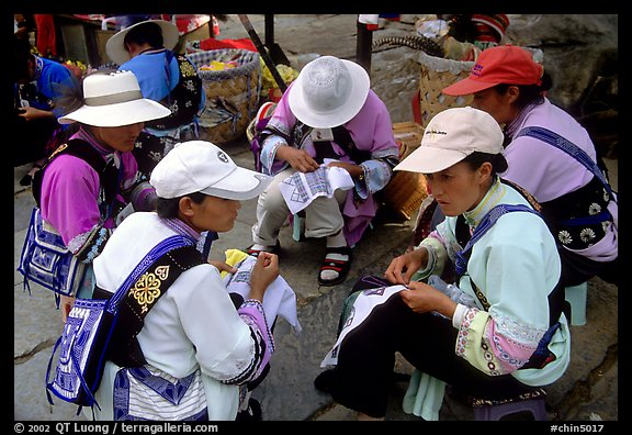 Sani women making embroidery. Shilin, Yunnan, China