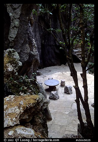 Quiet courtyard between limestone pillars. Shilin, Yunnan, China (color)