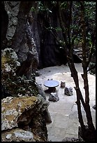 Quiet courtyard between limestone pillars. Shilin, Yunnan, China