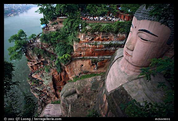 Da Fo (Grand Buddha) with staircase in cliffside and river in the background. Leshan, Sichuan, China (color)