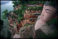Da Fo (Grand Buddha) with staircase in cliffside and river in the background. Leshan, Sichuan, China