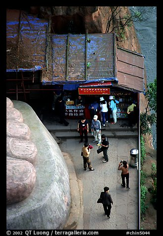 At the foot of the Grand Buddha. Leshan, Sichuan, China (color)
