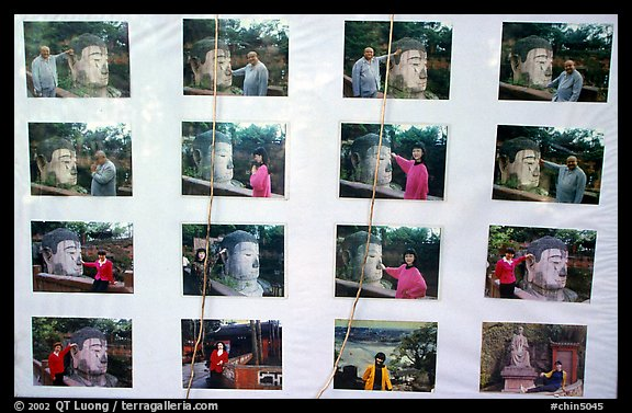 Pictures of Chinese tourists having fun with the Grand Buddha. Leshan, Sichuan, China (color)