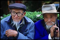 Elderly Naxi men. Lijiang, Yunnan, China (color)