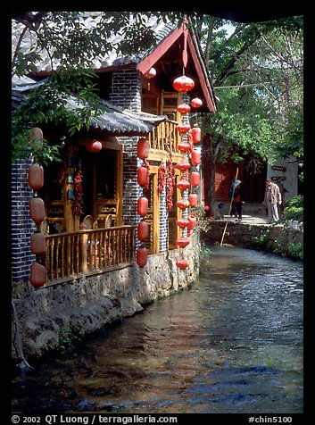 Houses along a canal. Lijiang, Yunnan, China (color)