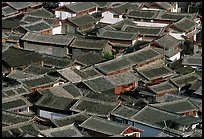 Old town Rooftops seen from Wangu tower. Lijiang, Yunnan, China ( color)