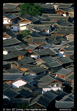 Old town Rooftops seen from Wangu tower. Lijiang, Yunnan, China (color)