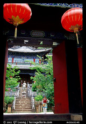 Ming dynasty Wufeng Lou (Five Phoenix Hall), seen through entrance arch. Lijiang, Yunnan, China