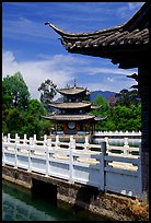 Pavillons in Black Dragon Pool Park. Lijiang, Yunnan, China (color)