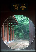 Circular doorway in Bailongdong temple. Emei Shan, Sichuan, China