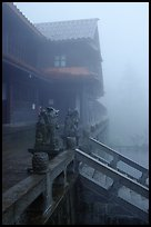 Xiangfeng temple in the fog. Emei Shan, Sichuan, China (color)