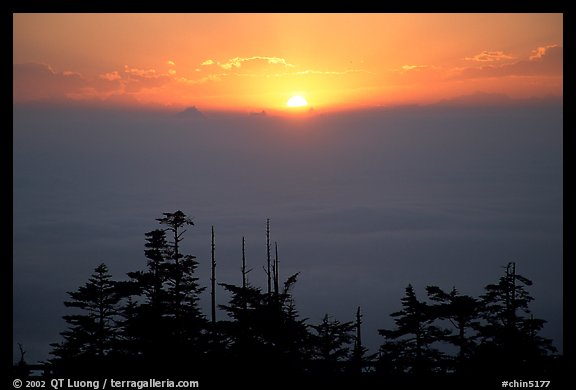 Sunset over a sea of clouds. Emei Shan, Sichuan, China (color)