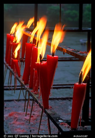 Candles burning. Emei Shan, Sichuan, China (color)